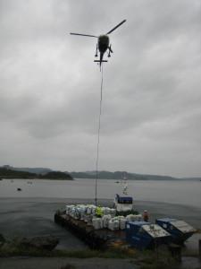 Ribo (LEBE) og Loke Flattopplekter. Transport av big bag og materiell bruka av helikopter. Brygger og Kaier Sokn AS